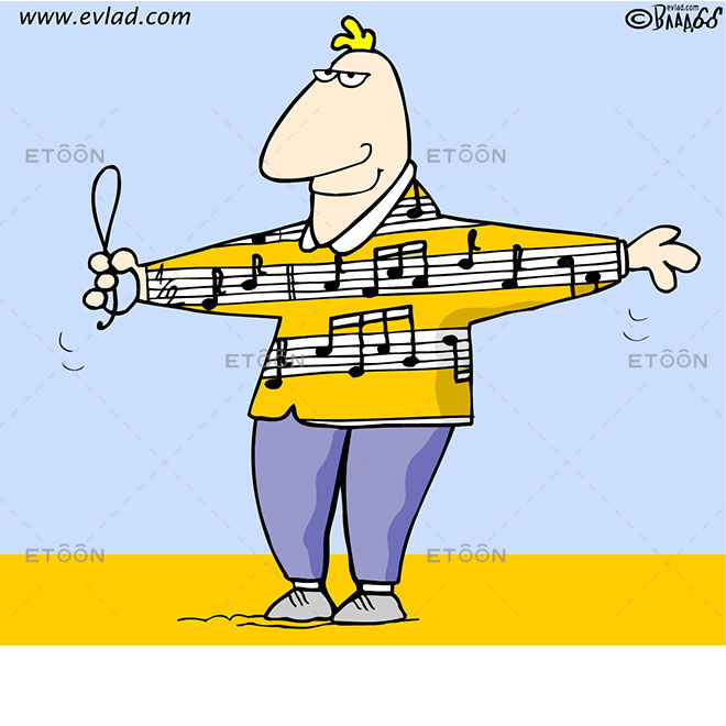 Man holding musical notes: eToon cartoon for newsletters, presentations, websites, books and more