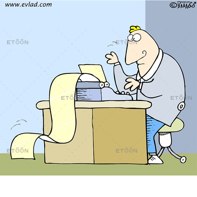 Man writing a long paper on a typing machine: eToon cartoon for newsletters, presentations, websites, books and more