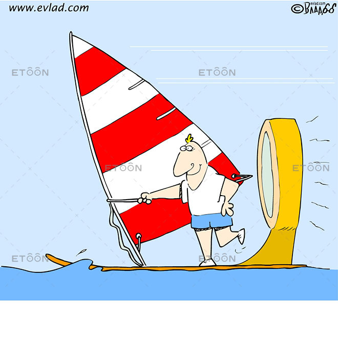 A surfer with an engine: eToon cartoon for newsletters, presentations, websites, books and more