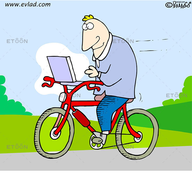 A bicyclist with a laptop: eToon cartoon for newsletters, presentations, websites, books and more
