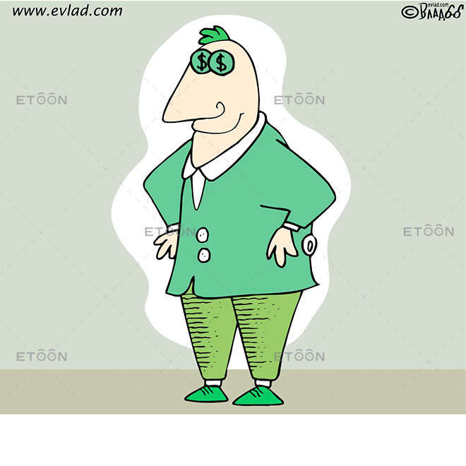 Man with coins on his eyes: eToon cartoon for newsletters, presentations, websites, books and more