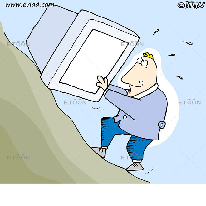 Man pushing a big computer monitor up a hill: eToon cartoon for newsletters, presentations, websites, books and more