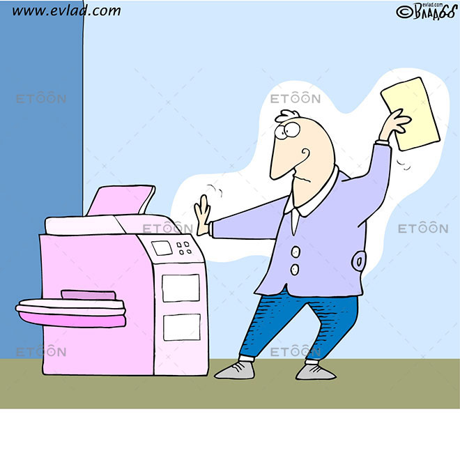 Man in a fighting pose in front of a copy machine: eToon cartoon for newsletters, presentations, websites, books and more