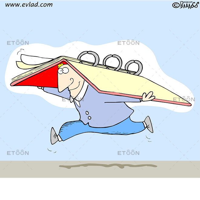 Man running with a big binder on his back: eToon cartoon for newsletters, presentations, websites, books and more
