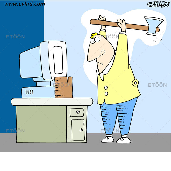 A man chopping wood on his desk: eToon cartoon for newsletters, presentations, websites, books and more