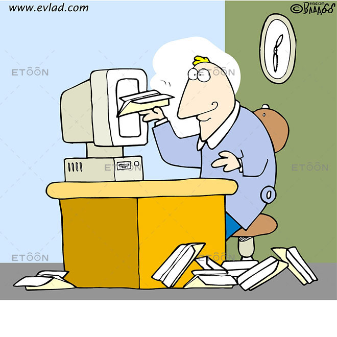 Man in an office making paper airplanes: eToon cartoon for newsletters, presentations, websites, books and more