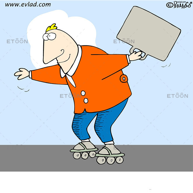 Man with rollerblades and a suitcase: eToon cartoon for newsletters, presentations, websites, books and more