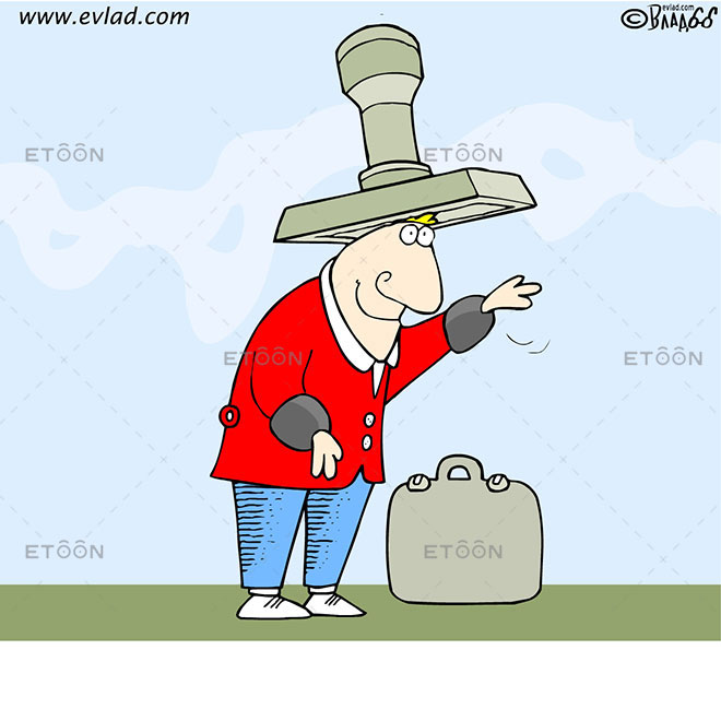 A clerk with a seal as a hat: eToon cartoon for newsletters, presentations, websites, books and more