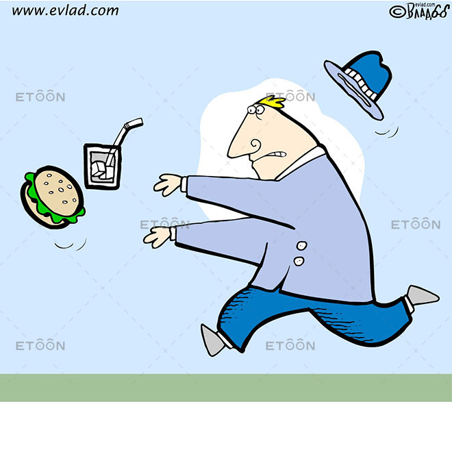 Man running after a burger and a drink: eToon cartoon for newsletters, presentations, websites, books and more
