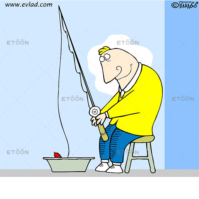 A man fishing in a basin: eToon cartoon for newsletters, presentations, websites, books and more