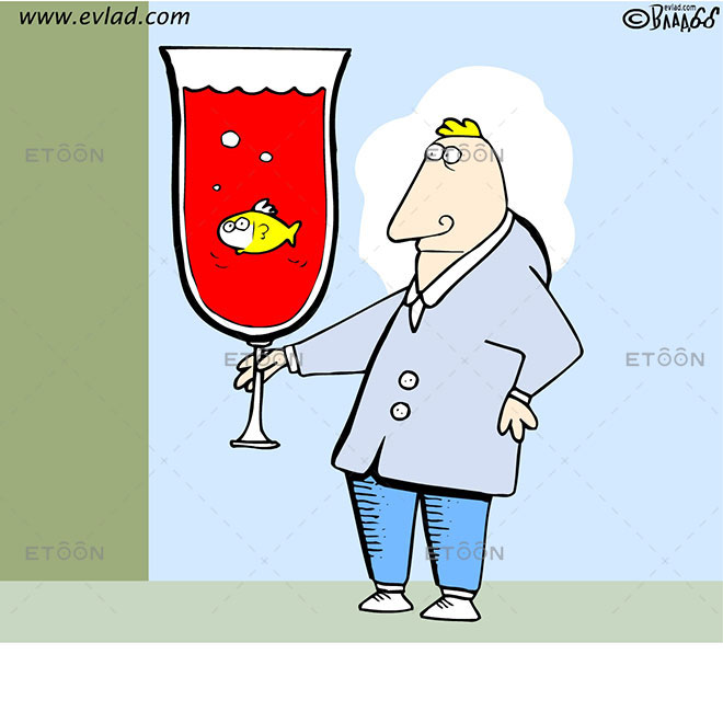 A man holding a big glass with a fish in it: eToon cartoon for newsletters, presentations, websites, books and more