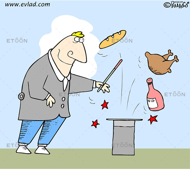 A magician taking out lunch from a hat: eToon cartoon for newsletters, presentations, websites, books and more