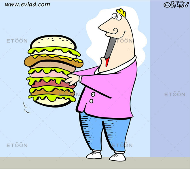 Man eating a huge burger: eToon cartoon for newsletters, presentations, websites, books and more