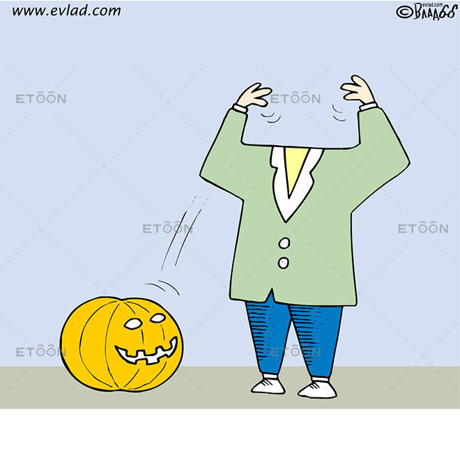 A pumpkin is the head of a man: eToon cartoon for newsletters, presentations, websites, books and more