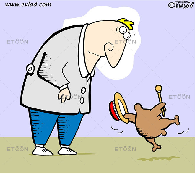 Man looking at a dancing chicken: eToon cartoon for newsletters, presentations, websites, books and more