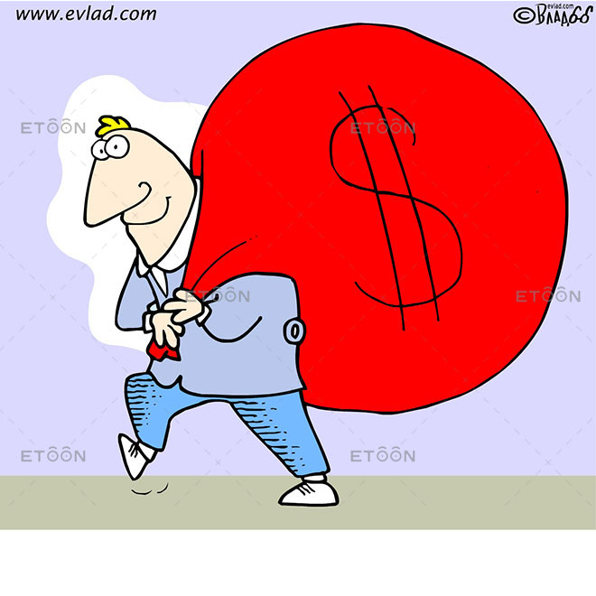 Man with a huge bag of money: eToon cartoon for newsletters, presentations, websites, books and more