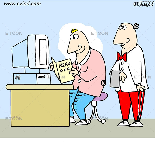 Man at a desk ordering food: eToon cartoon for newsletters, presentations, websites, books and more