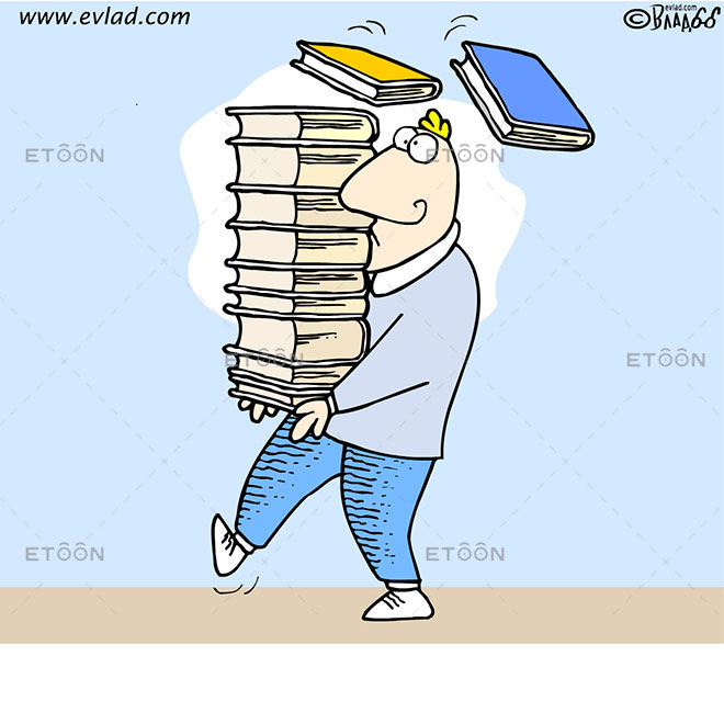 Man with a lot of books: eToon cartoon for newsletters, presentations, websites, books and more