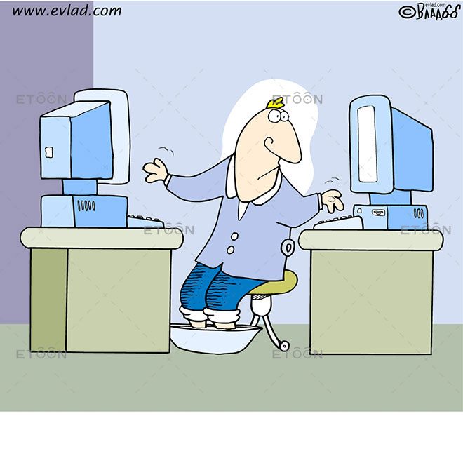 Man working on two computers: eToon cartoon for newsletters, presentations, websites, books and more