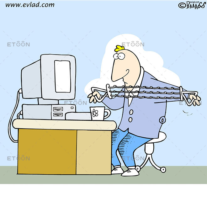 Man working out at his desk: eToon cartoon for newsletters, presentations, websites, books and more