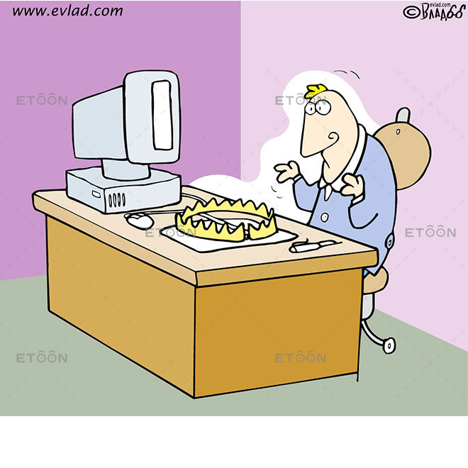 Man looking at a trap on his desk: eToon cartoon for newsletters, presentations, websites, books and more