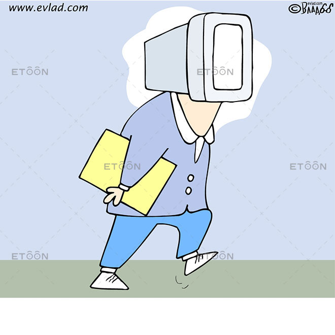 A clerk with a computer for head: eToon cartoon for newsletters, presentations, websites, books and more