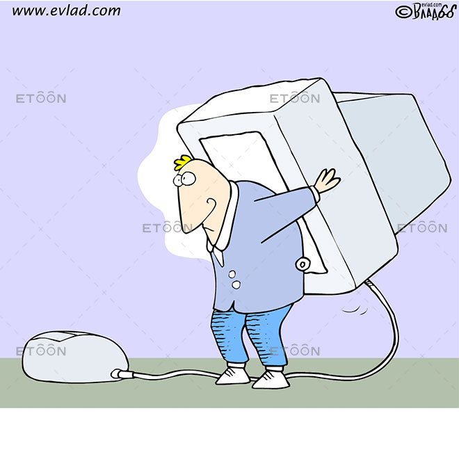 Man carrying an oversized monitor on his back: eToon cartoon for newsletters, presentations, websites, books and more