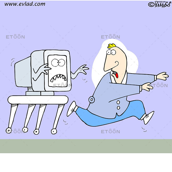 Man being chased by a computer: eToon cartoon for newsletters, presentations, websites, books and more