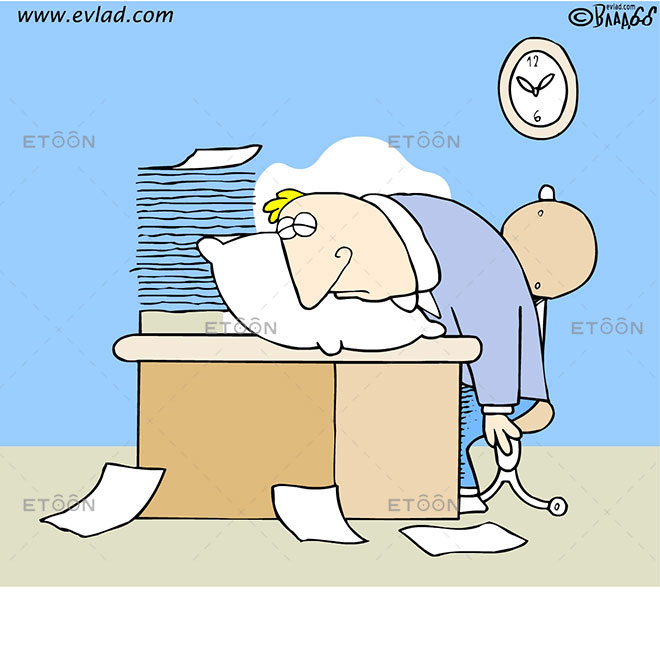 Man sleeping on his desk: eToon cartoon for newsletters, presentations, websites, books and more