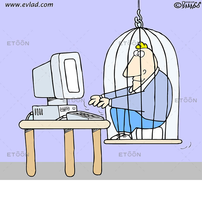 Man in a cage working on a computer: eToon cartoon for newsletters, presentations, websites, books and more