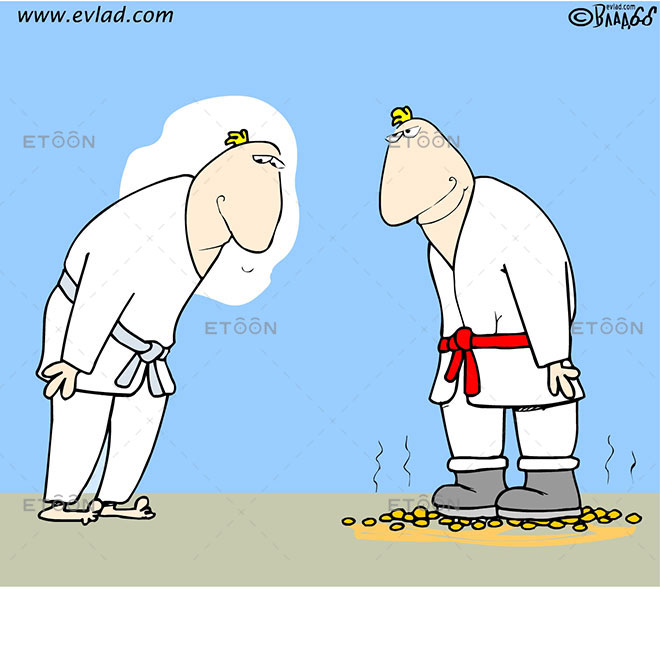 Karate fighters. One of them has boots and is standing on ambers: eToon cartoon for newsletters, presentations, websites, books and more