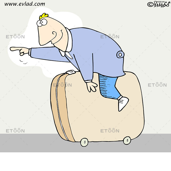 Man riding a suitcase: eToon cartoon for newsletters, presentations, websites, books and more