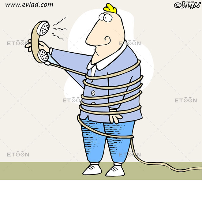 Man wrapped in a phone cord: eToon cartoon for newsletters, presentations, websites, books and more