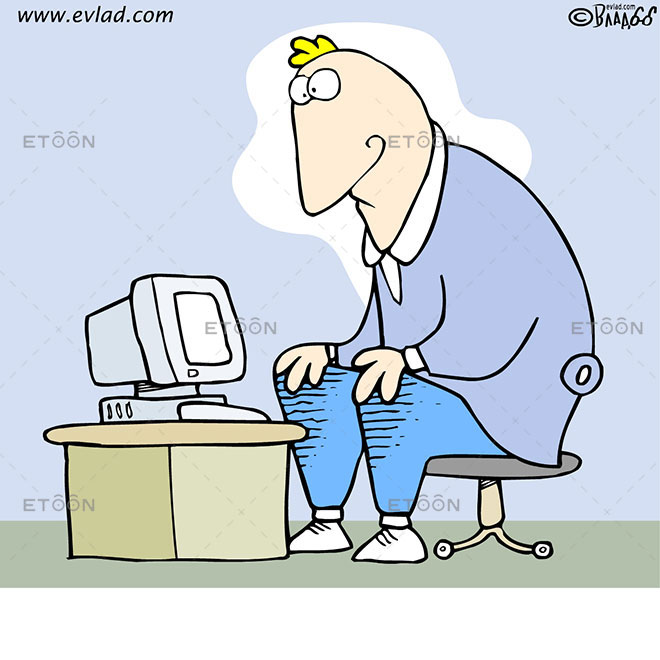 Man sitting at a small desk with a small computer on it: eToon cartoon for newsletters, presentations, websites, books and more