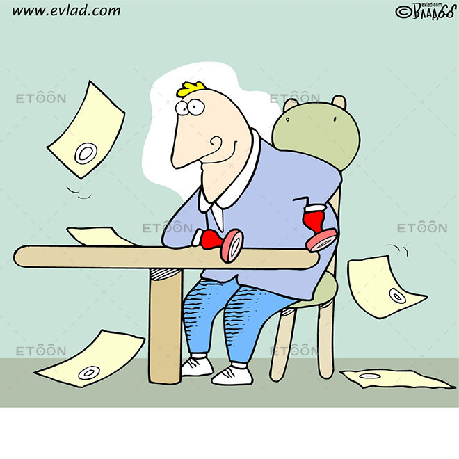 Clerk with stamps for hands: eToon cartoon for newsletters, presentations, websites, books and more
