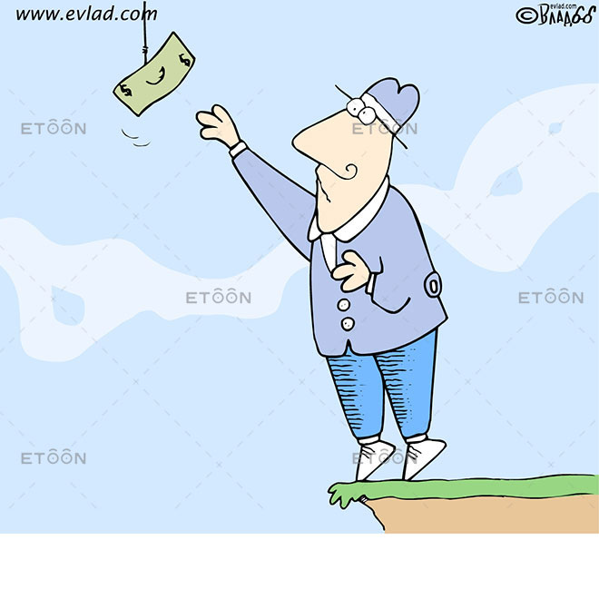 Man trying to reach a bill above an abyss: eToon cartoon for newsletters, presentations, websites, books and more