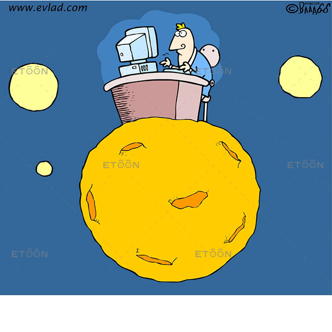 Man on a desk on the Moon: eToon cartoon for newsletters, presentations, websites, books and more