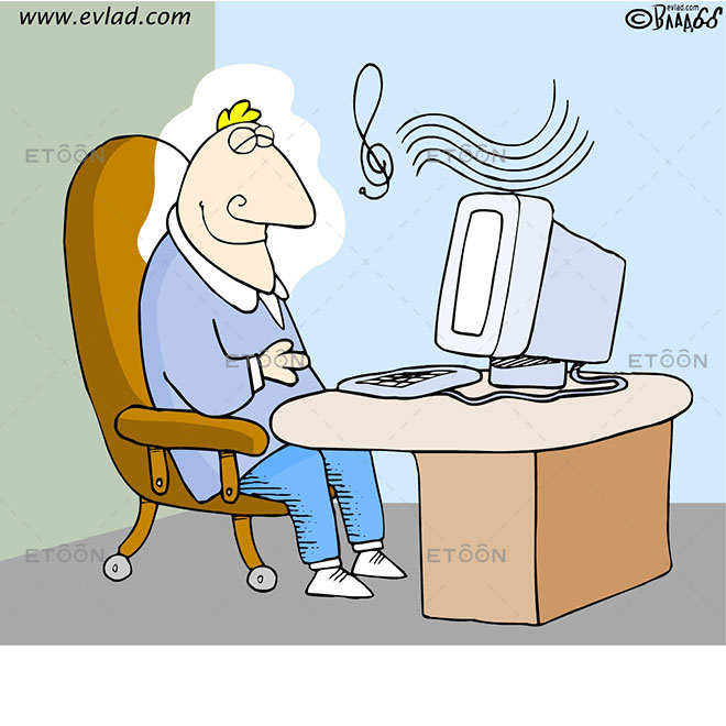 Man sleeping at a desk: eToon cartoon for newsletters, presentations, websites, books and more