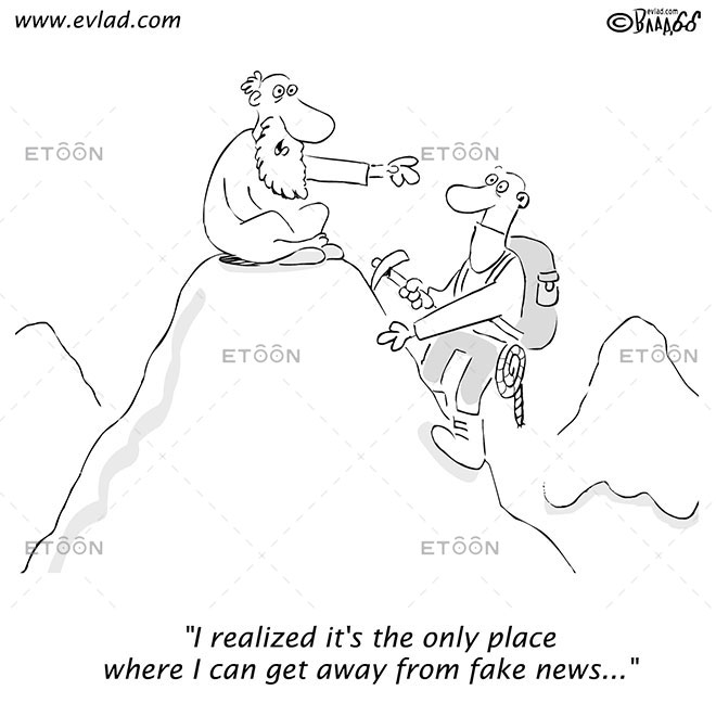 Man on a mountain with a guru...: eToon cartoon for newsletters, presentations, websites, books and more