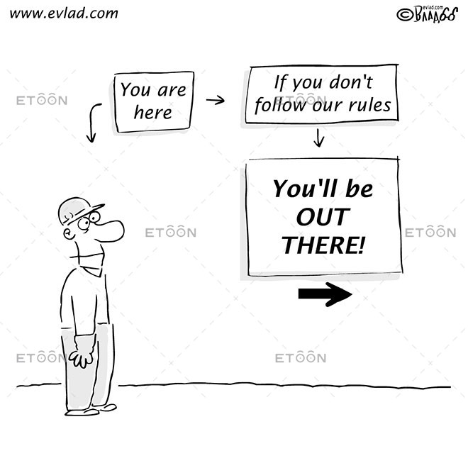 Man in front of instruction boards: Youll be OUT THERE!: eToon cartoon for newsletters, presentations, websites, books and more