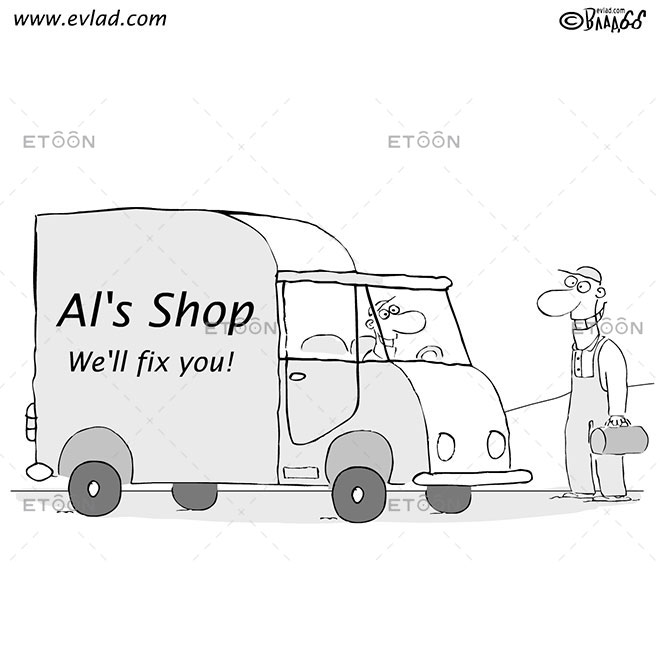 Man getting into a truck...: eToon cartoon for newsletters, presentations, websites, books and more