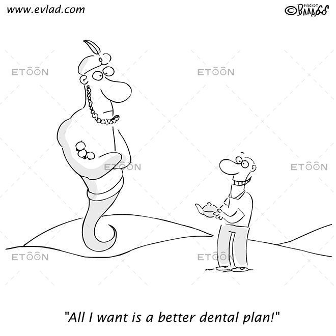 Man and Genie: All I want is a better dental plan!: eToon cartoon for newsletters, presentations, websites, books and more