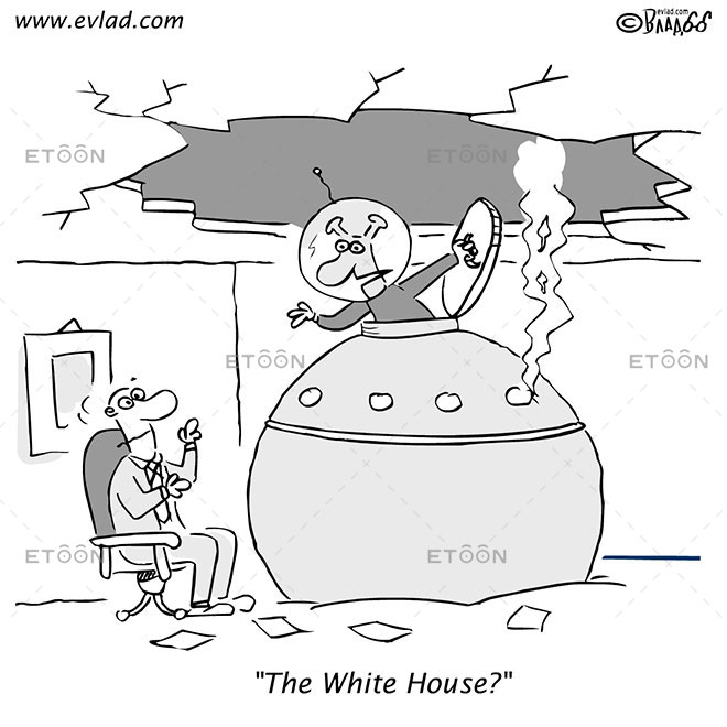 Alien crash landing: The White House?: eToon cartoon for newsletters, presentations, websites, books and more