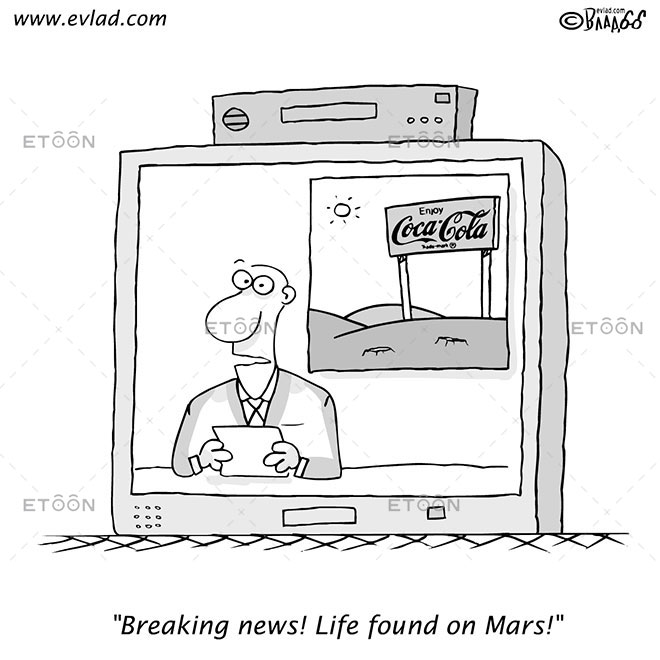 TV news: Breaking news! Life found on Mars!: eToon cartoon for newsletters, presentations, websites, books and more