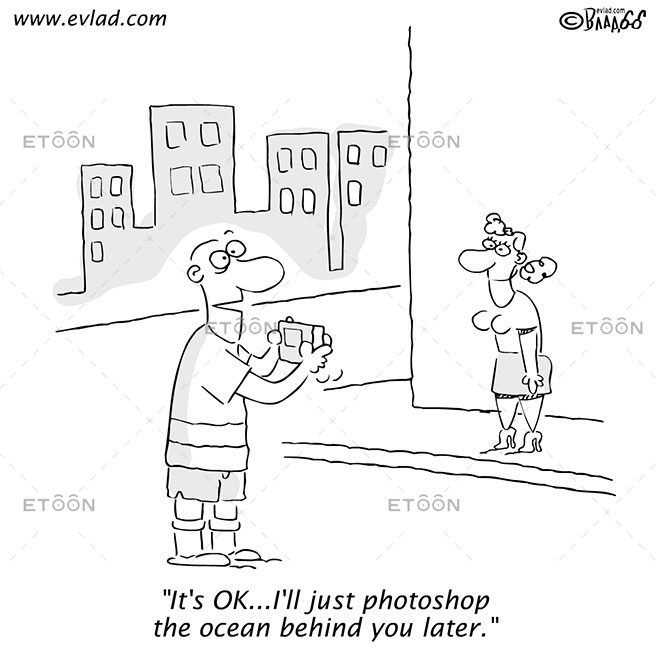 Man taking a picture of a woman...: eToon cartoon for newsletters, presentations, websites, books and more