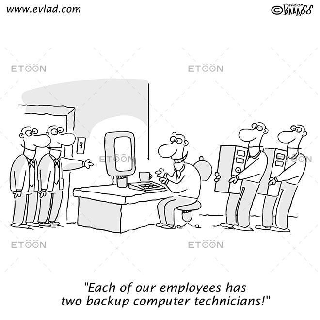 Two men touring an office...: eToon cartoon for newsletters, presentations, websites, books and more