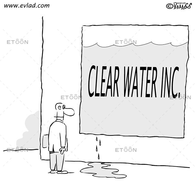 Man standing in front of a leak...: eToon cartoon for newsletters, presentations, websites, books and more