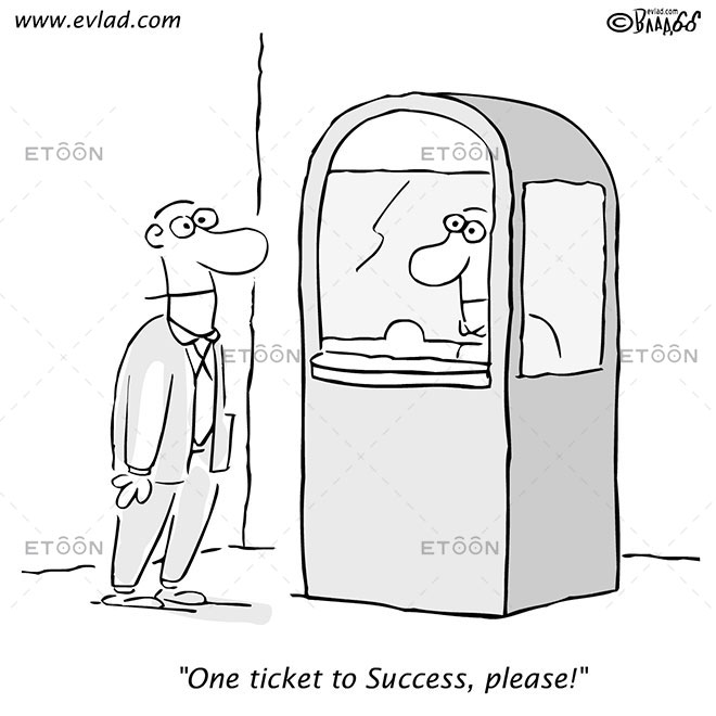 Man buying a ticket: One ticket to Success, please!: eToon cartoon for newsletters, presentations, websites, books and more