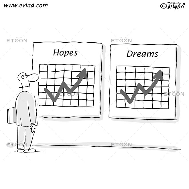 Man in front of charts: Signs read: Hopes Dreams: eToon cartoon for newsletters, presentations, websites, books and more