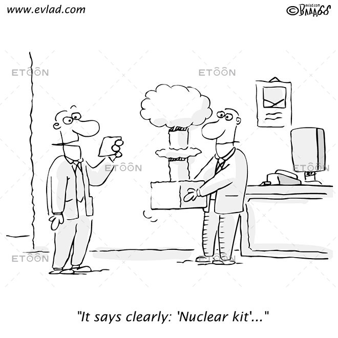 It says clearly: Nuclear kit...: eToon cartoon for newsletters, presentations, websites, books and more